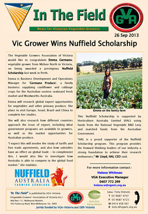 Vic Grower Wins Nuffield Scholarship