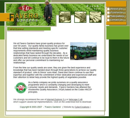 Favero Gardens website
