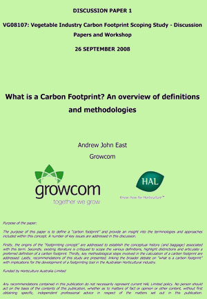 What is a Carbon Footprint - an overview of definitions and methodologies - September 2008