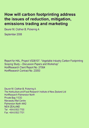 How will carbon footprinting address the issues of reduction, mitigation, emissions trading and marketing - September 2008