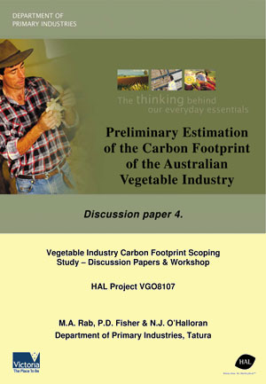 Preliminary Estimation of the Carbon Footprint of the Australian Vegetable Industry - September 2008